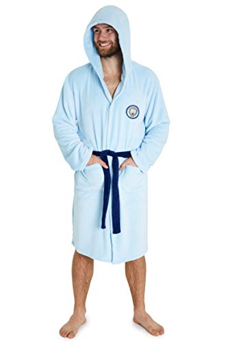 Manchester City F.C. Mens Dressing Gowns, Football Fleece Hooded Robe S-3XL (L, Light Blue)