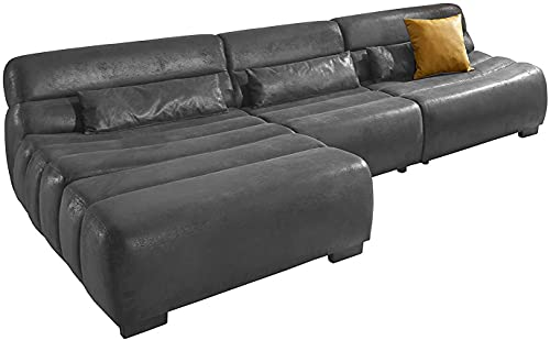 Cavadore Ecksofa Scoutano in Antiklederoptik mit Recamiere links / Sofa L-Form mit XXL-Longchair im Industrial Design / 268 x 76 x 170 cm / Lederoptik Schwarz