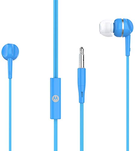 Motorola Pace 105 Wired in Ear Headphone with Mic (Blue)