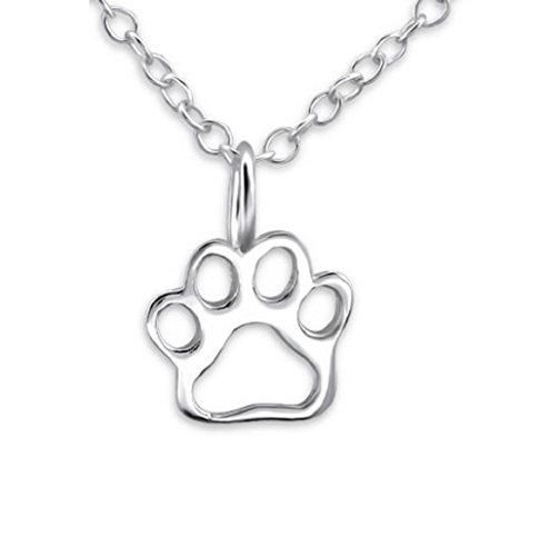 The Rose & Silver Company Women 925 Sterling Silver Paw Print Necklace 45cm / 17.7' RS0421