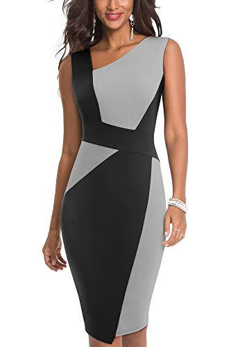 HOMEYEE Damen Vintage Ärmelloses Business Kleid aus Stretch mit Kontrastfarbe B517 (EU 38 = Size M, Grau + Schwarz)