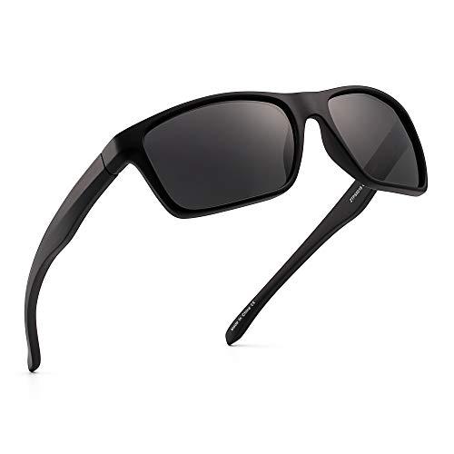 JIM HALO Polarizadas Deportivas Gafas de Sol de Espejo Wrap Alrededor Conducir Pescar Hombre Mujer(Negro/Gris Espejo)