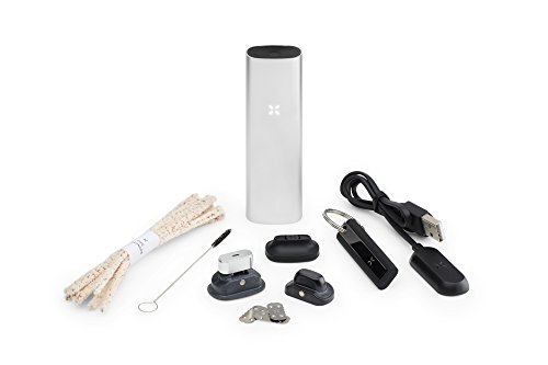 PAX 3 - Premium Portable Vaporizer - Dry Herb Oil Wax - 10Year Warranty - Complete Kit - Silver