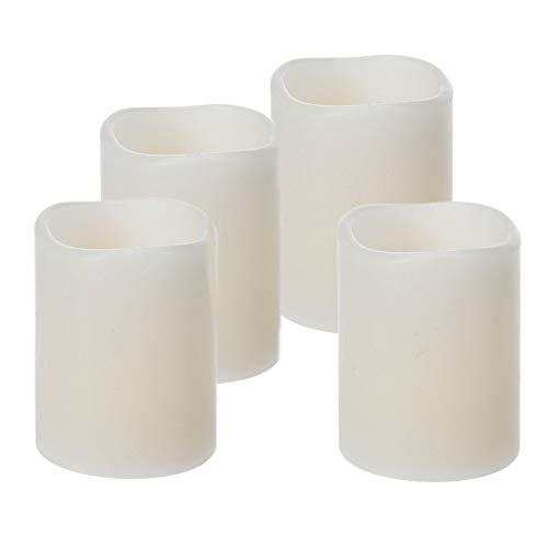 ToCi 4er-Set LED-Kerzen mit Timerfunktion, flammenlose Echtwachs-Kerzen mit flackernder LED-Flamme, Elfenbein, Ø 5 x 6,5 cm