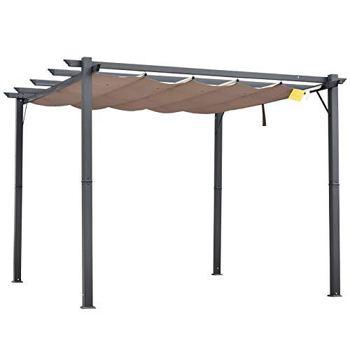 Outsunny Pérgola de Aluminio Gazebo Cenador 3x3m para Jardín Patio o Terraza con Techo Retráctil Tela Poliéster Resistente a Agua y UV