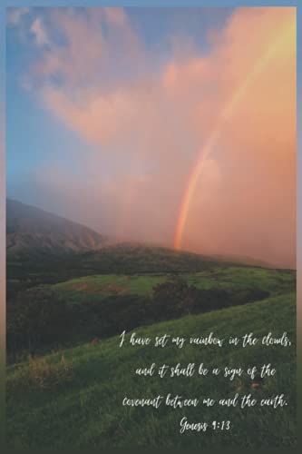 I Have Set My Rainbow in the Clouds Genesis Verse Hawaiian Rainbow Prayer Journal Notebook 120 pages