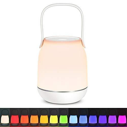Tomons LED Nachttischlampe, Stufenlos Dimmbar Mehrfarbig Atmosphäre Tischlampe mit Griff, Berührungsschalter, RGB-Farbmodus, USB-Ladeanschluss, Nachtlicht für Schlafzimmer Wohnzimmer und Büro, Weiß