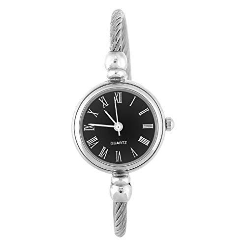Reloj de cuarzo para mujer de 4 colores, reloj de pulsera para mujer, reloj de pulsera abierto, con correa de aleación, reloj para mujer, reloj redondo para mujer, reloj para mujer(Roman Negro)
