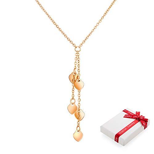 Cadena de oro rosa para mujer con colgante de corazón, collares para mujer, con elegante paquete de regalo, regalos para San Valentín, fiesta, aniversario, cumpleaños