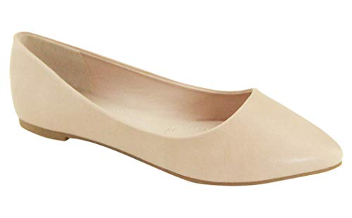 Bella Marie Angie-53 Women's Classic Pointy Toe Ballet Slip On Flats Shoes (8.5, nude-52)