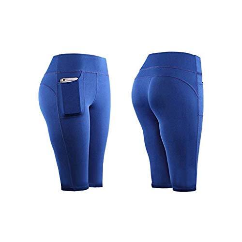 Whear - Pantalones cortos de yoga de cintura alta para mujer, control de barriga, entrenamiento atlético, correr, ciclismo, pantalones cortos con bolsillos laterales, Azul / Patchwork, S