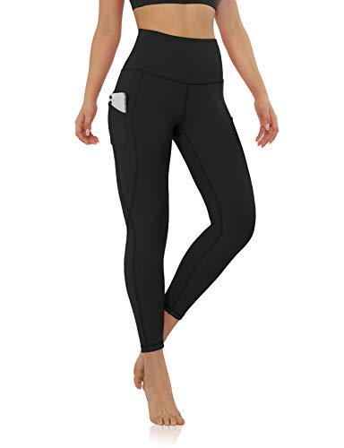 """ODODOS Women's 7/8 Yoga Leggings with Pockets, High Waisted Workout Sports Running Tights Athletic Pants-Inseam 25"""", Black, Medium"""
