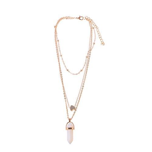 OKwife Crystal Quartz Healing Point 7 Chakra Stone Collar con Colgante de ópalos Multicapa