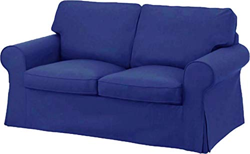 HomeTown Market Sofa Covers Custom Made for IKEA Ektorp Loveseat Couch Slipcovers (Polyester Flax Blue, Ektorp Loveseat)
