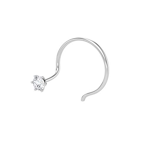 Peenzone 92.5 Silver White Nose Stud For Women