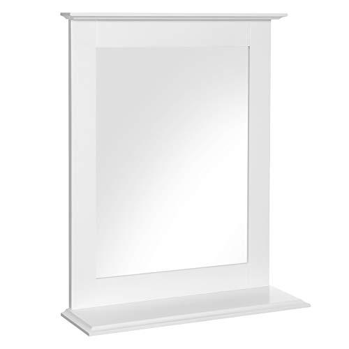 VASAGLE Specchio da Bagno, Specchio da Parete con Mensola, per Arredo Bagno e Toletta, 46 x 12 x 55 cm, Bianco Opaco BBC25WT