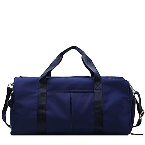 Egdu Bolsa Deportiva para Gimnasio, Bolsa de Viaje Impermeable Resistente al Desgaste con Bolsillo húmedo y Compartimento para Zapatos Separación en seco y húmedo (49 * 25 * 22 cm),Dark Blue