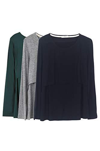 Smallshow Mujer Top Camiseta Premamá Lactancia De Manga Larga 3 Pack,Black/Grey/Deep Green,XL