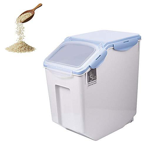 Volwco Reisbehälter, Aufbewahrungsbox, Reisbehälter, 15 kg, feuchtigkeitsbeständig, ideal für die Aufbewahrung von Reis, Mehl, Trockenfutter, Tierfutter und mehr, grau, 33lbs (Blau, 33 Pfund)