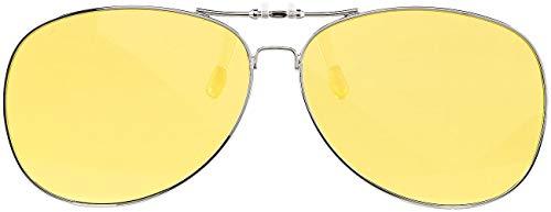 PEARL Nachtsicht Brillenclips: Nachtsicht-Brillenclip im Pilotenbrillen-Design, polarisiert, UV400 (Brillenaufsatz Nachtsicht)