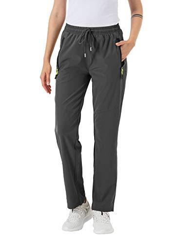 donhobo Damen Wanderhose, wasserdicht, leicht, schnell trocknend, mit Reißverschlusstaschen, Dunkelgrau, Größe S