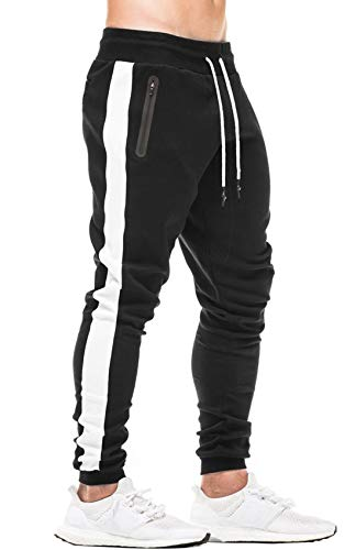 Susclude Men's Gym Sweatpants Sports Fitness Exercise Joggers Bottoms Stretch Active Tack Pants Slim FitBlack L