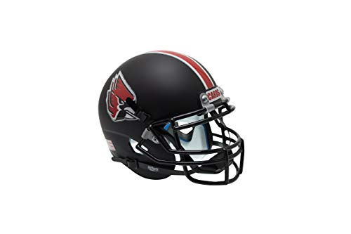 Schutt Sports NCAA Ball State Cardinals Mini Authentic Football Helmet, Black with Chrome Decals Alt. 1