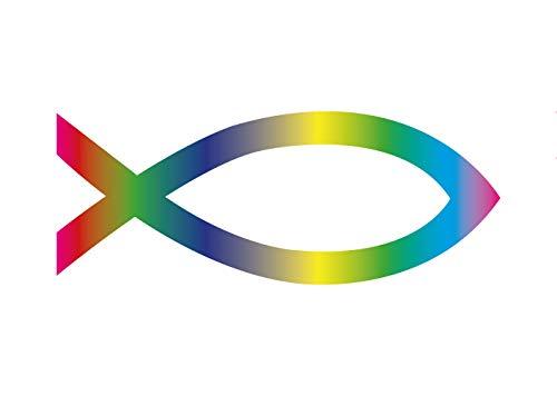 Premium Aufkleber Jesus Fisch Ichthys Fish Sticker Autoaufkleber Regenbogen Waschstrassenfest und UV-Beständig