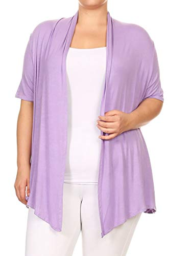 Plus Size Solid Print Casual Short Sleeve Draped Open Front Cardigan/Made in USA Lavender 3XL