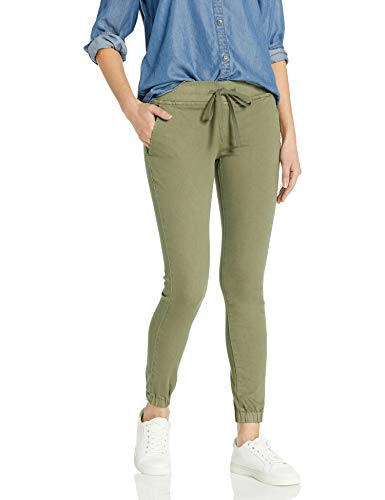 cover girl Women's Pull On Camo Solid Mid Rise String Jogger Fit Sporty Active, Light Olive Green, 9