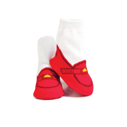 Trumpette Baby Boys' Newborn Valentine Penny Loafer Socks, White/red, Small
