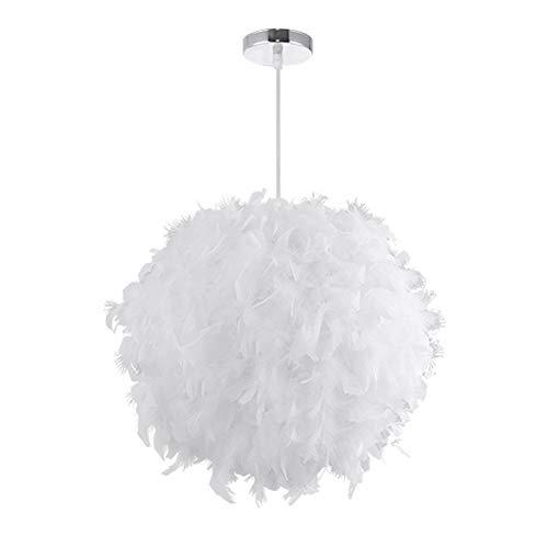 Lámpara de techo de estilo sencillo y nórdico con diseño de plumas - Moderna y romántica lámpara de araña lámpara para salón, dormitorio o comedor - Para usar con bombillas E27, Blanco, 30 cm