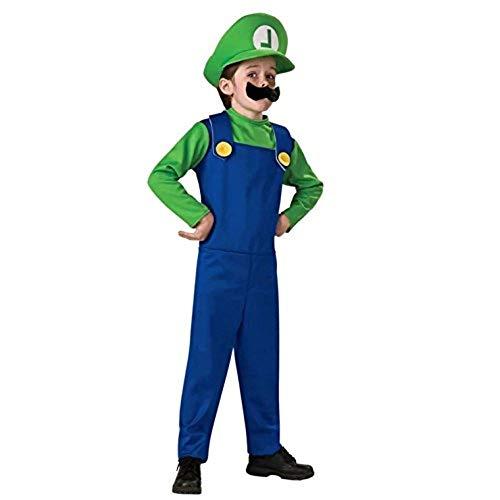 thematys Super Mario Luigi Mütze + Hose + Bart - Kostüm-Set - perfekt für Fasching, Karneval & Cosplay (M, 120-130cm Körpergröße)