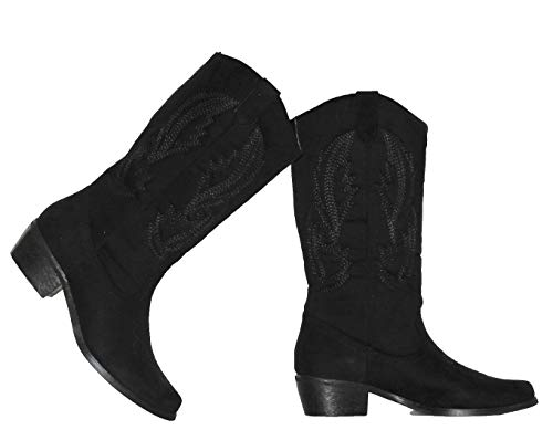 MVE Shoes Women's Modern Western Cowboy Distressed Boot with Pull-Up Tabs Cowgirl 11 Black 8.5
