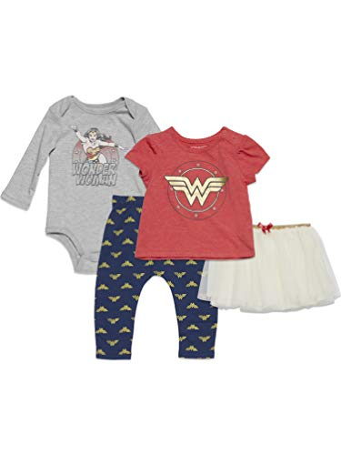 DC Comics Wonder Woman Baby Girls Bodysuit T-Shirt Skirt Pants 4 Piece Set 6-9 Months