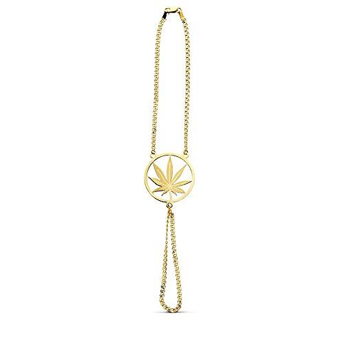 Pulsera oro 18k india marihuana láser 19cm. [AB2999]