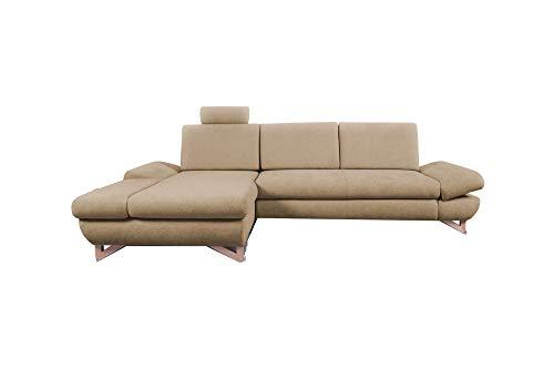 mb-moebel Ecksofa mit Schlaffunktion Eckcouch mit Bettkasten Sofa Couch L-Form Polsterecke Merida (Beige, Ecksofa Links)