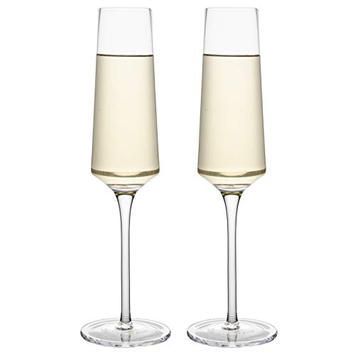 Crystal Champagne Glasses-Long Stem Champagne Flutes Set of 2,Hand Blown Lead-Free, Classic 6.4 Oz Modern Elongated Champagne Flute Glass for Party Weddings Christmas Birthday Toasting