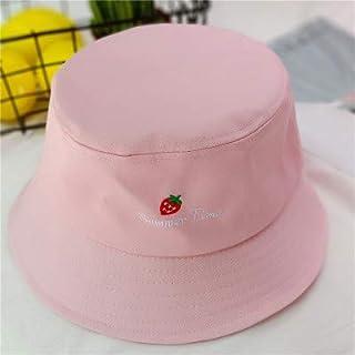 DUOLUO 日本の文学野生の漁師の帽子甘いイチゴの刺繍の女の子の夏学生日焼け止め帽子日焼け止め帽の韓国語版