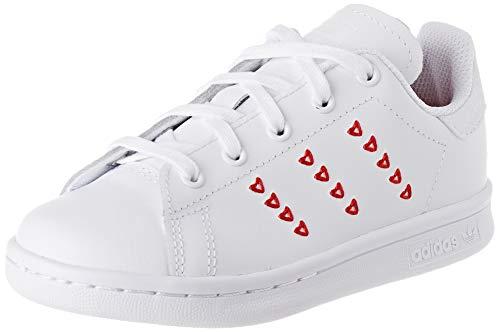 adidas Stan Smith C, Scarpe da Ginnastica, Ftwr White/Ftwr White/Lush Red, 34 EU