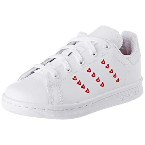adidas Stan Smith C, Scarpe da Ginnastica Unisex-Bambini, Ftwr White/Ftwr White/Lush Red, 33.5 EU