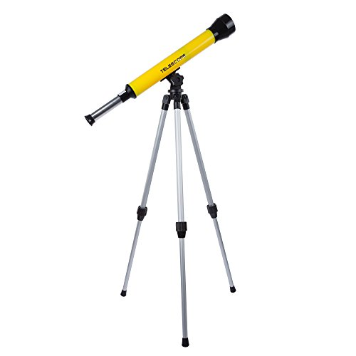 Teleskop für Kinder mit Stativ, 40 mm, Einsteiger-Teleskop mit verstellbarem Stativ und 30-facher Vergrößerung für Wissenschaft, Natur und Astronomie von Hey! Play!