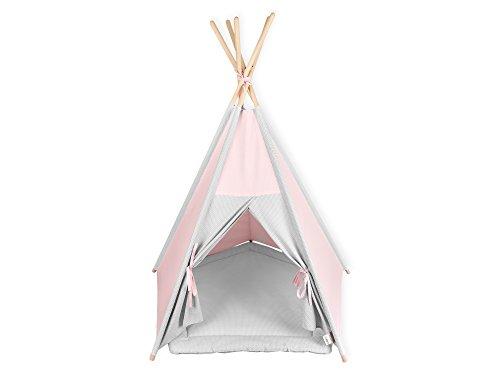 KraftKids Spielzelt-Tipi kleine Blätter rosa auf Weiß, Indianer-Zelt zum Spielen für Kinder, Kleinkinder und Babys, inkl. Spielmatte