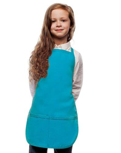 Blue Kids Apron,Childrens Smock for Classroom Crafts and Paniting Cooking Bake