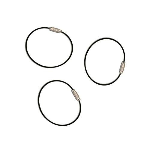 Everyman Cable Key Rings, Heavy-Duty 100% Stainless Steel Key rings - Standard Stainless Finish, 3-Pack (Coated)