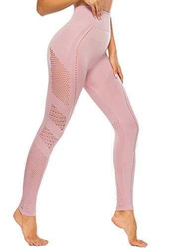 SEASUM Leggins Sportivi da Donna Senza Cuciture Vita Alta Pantaloni Hollow out Elastici per Allenamento Corsa Yoga Fitness Tute da Ginnastica Collant di Base Dimagrante, C-Rosa Chiaro M
