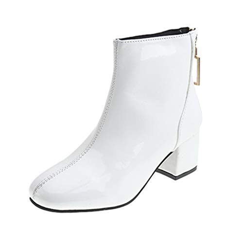 WUSIKY Geschenk für Frauen Stiefeletten Damen Bootsschuhe Boots Fashion Round Toe Schuhe Stiefel Zurück Zipper Square High Heeled Short Boots (Weiß, 37 EU)