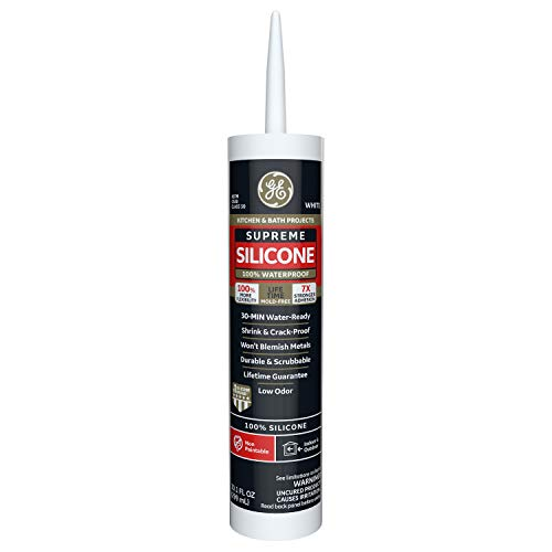 GE Sealants & Adhesives M90007 Supreme Silicone Kitchen & Bath Sealant, 10.1oz, White, 12 g