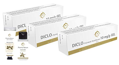 Diclofenac Schmerzgel Diclo Salbe - gleicher Wirkstoff wie in Voltaren Schmerzgel   Sparset mit 3 x 100 g Gel inklusive Handcreme ODER Duschbad (30 ml) von Pharma Nature