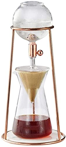 Mini pote de goteo de hielo con filtro de acero inoxidable reutilizable para el hogar Ice Brew Cold Dripper Cafetera - Oro rosa
